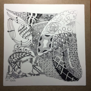 All tangles are in place, finally. It took 14-1/2 hours! Just a bit more to do before completion.