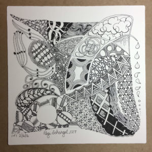 Weighted lines and the Dew Drop have been added. The Opus tile is complete as far as tangles go.